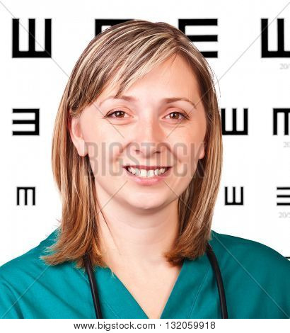 smiling portrait of smiling optometrist on white