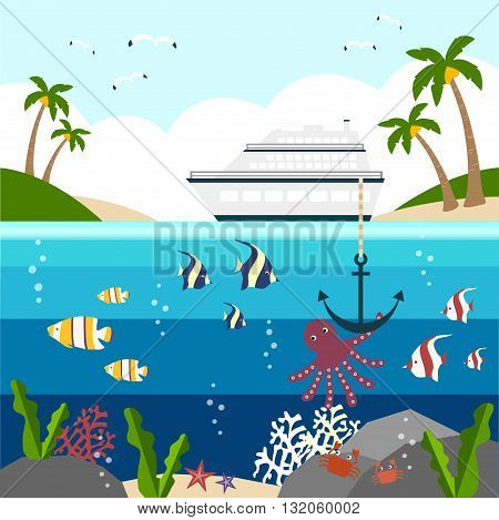background of sea and sky with passenger ship in summer