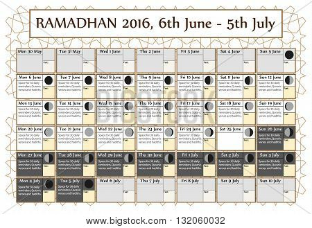 Ramadan calendar 2016 6th June. Choice: 2nd of 3. Includes: fasting tick calendar moon cycle-phases- Ramadan quotes. 30 days of Ramadan on white background with Islamic pattern. Vector illustration