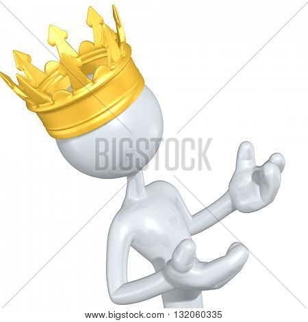 King Wearing A Crown 3D Illustration