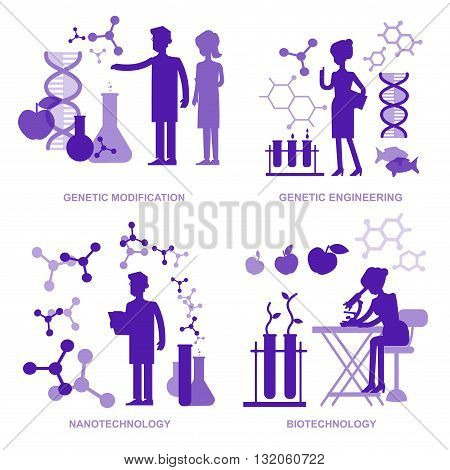 Detailed character men woman scientis, laboratory technician scientis looking through a microscope, Biotechnology scientis, genetic engineering scientis, nanotechnology