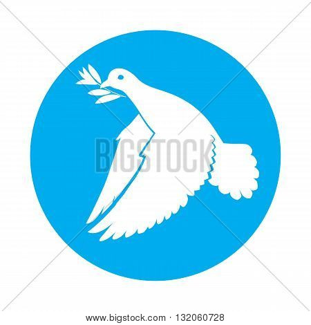 Flat icon of dove of peace with olive branch in its beak