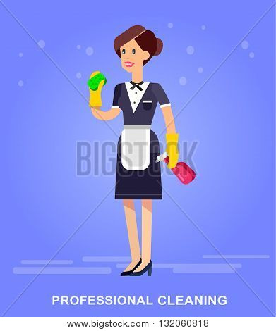 Poster design for cleaning service and cleaning supplies. Vector detailed character professional housekeeper. Cleaning kit icons. Vector cleaning. Illustration cleaning