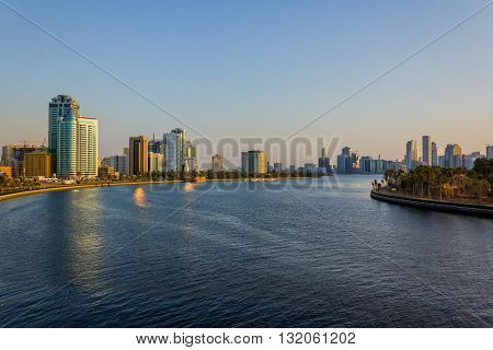 Sharjah Cityscape as seen from the bridge