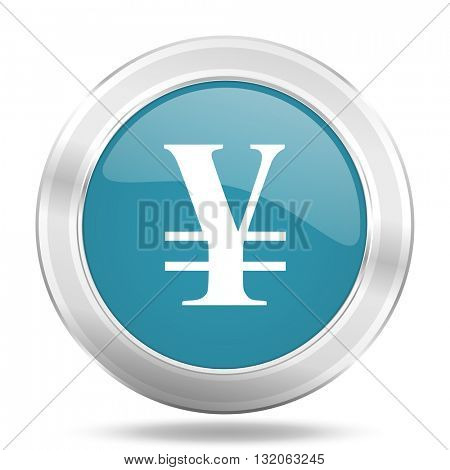 yen icon, blue round metallic glossy button, web and mobile app design illustration
