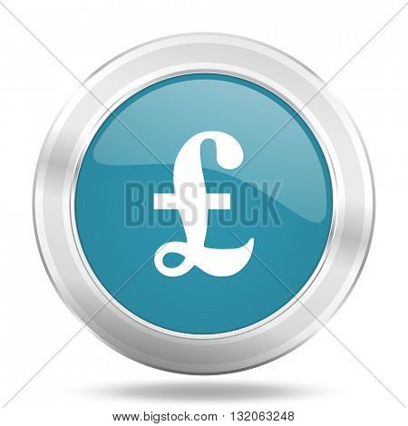 pound icon, blue round metallic glossy button, web and mobile app design illustration