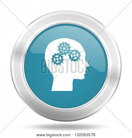 head icon, blue round metallic glossy button, web and mobile app design illustration