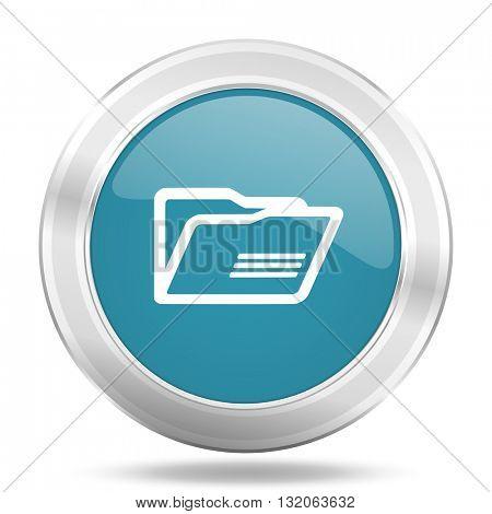 folder icon, blue round metallic glossy button, web and mobile app design illustration
