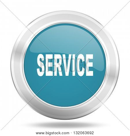 service icon, blue round metallic glossy button, web and mobile app design illustration