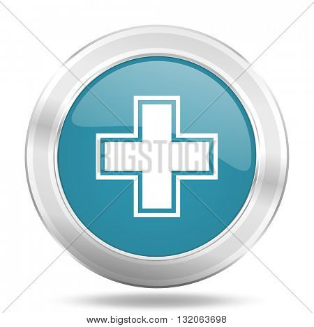 pharmacy icon, blue round metallic glossy button, web and mobile app design illustration