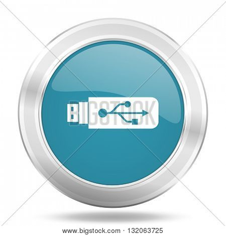usb icon, blue round metallic glossy button, web and mobile app design illustration