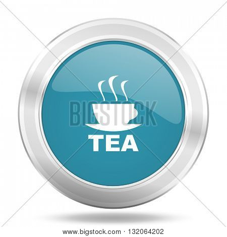 tea icon, blue round metallic glossy button, web and mobile app design illustration