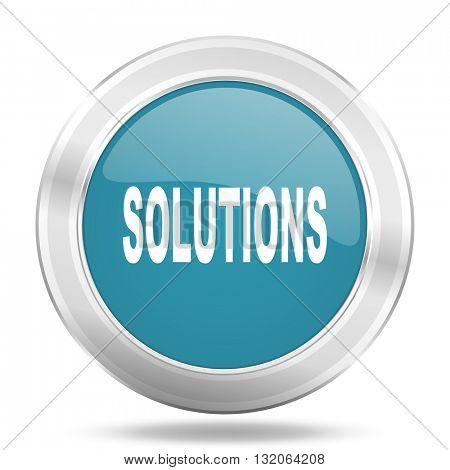 solutions icon, blue round metallic glossy button, web and mobile app design illustration