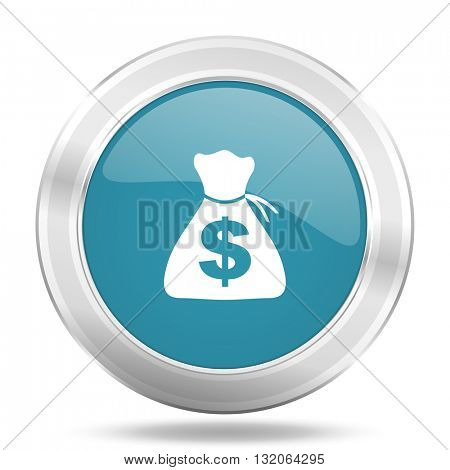 money icon, blue round metallic glossy button, web and mobile app design illustration
