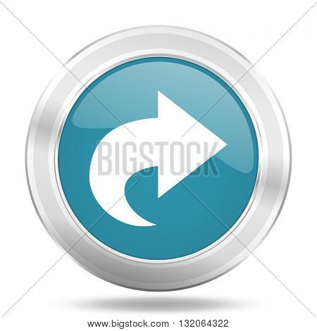 next icon, blue round metallic glossy button, web and mobile app design illustration