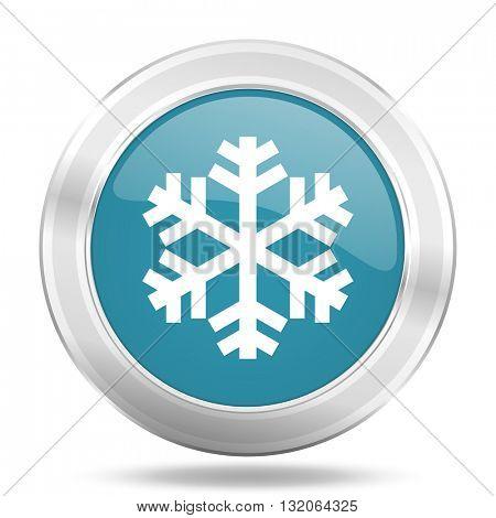snow icon, blue round metallic glossy button, web and mobile app design illustration