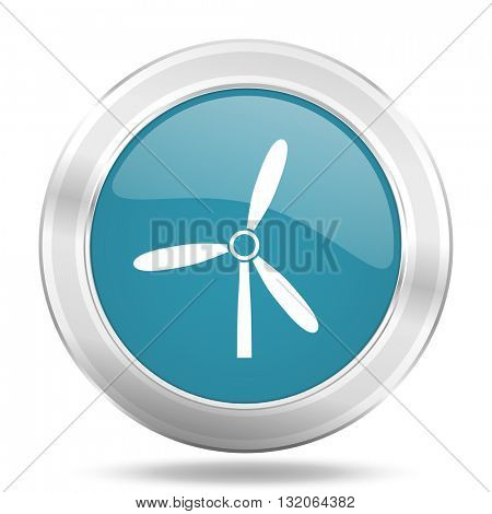 windmill icon, blue round metallic glossy button, web and mobile app design illustration