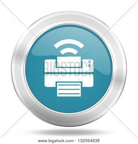 printer icon, blue round metallic glossy button, web and mobile app design illustration