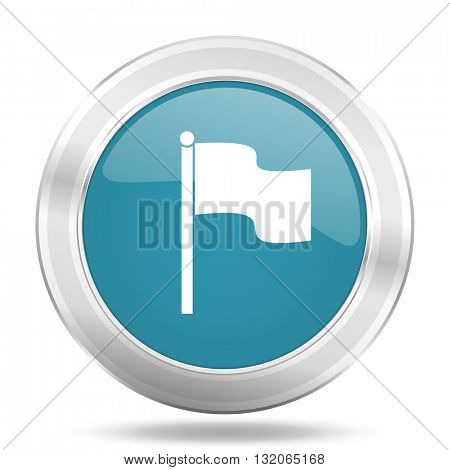 flag icon, blue round metallic glossy button, web and mobile app design illustration