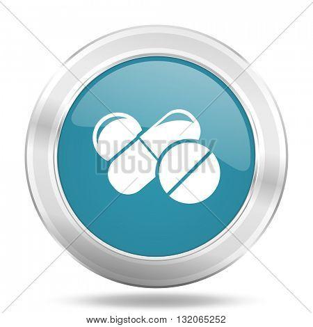 medicine icon, blue round metallic glossy button, web and mobile app design illustration