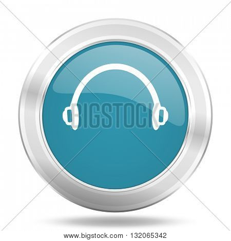 headphones icon, blue round metallic glossy button, web and mobile app design illustration