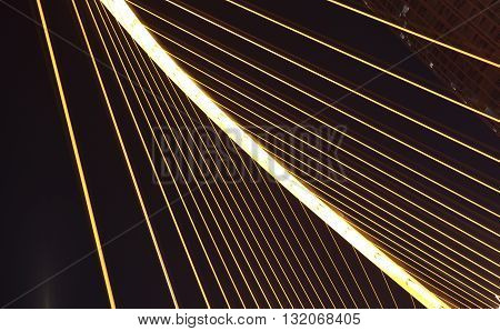 Arc type concept harp cable bridge Close-up of night