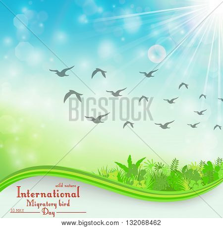 Vector illustration of Birds migratory day background with foliage and space for text
