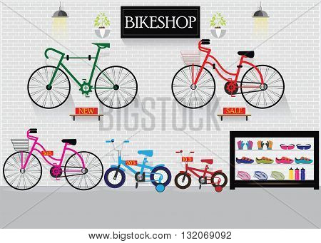 Bicycle stores or bike shops with many size bicycle hanger on brick wall background and equipment interior shop vector illustration.