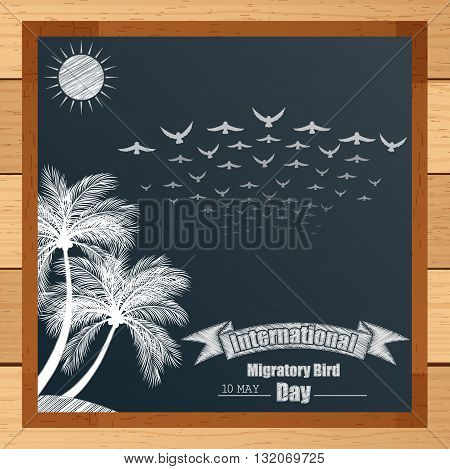 Vector illustration of Migratory bird mechanism with palm tree and flying birds written by chalk on blackboard