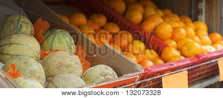 basket of fresh fruit rockmelons or cantaloup and oranges and clementine for sale