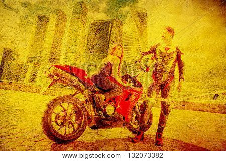 A Couple of Motorcycle Riders with their Custom Bike on yellow wall.