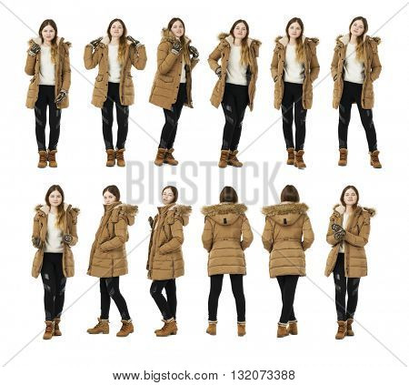 Young blonde woman dress autumn coat, full length portrait isolated on white background