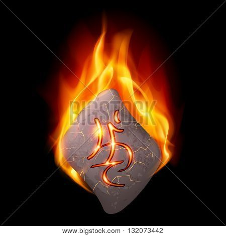 Diamond-shaped stone with magic rune burning in orange flame