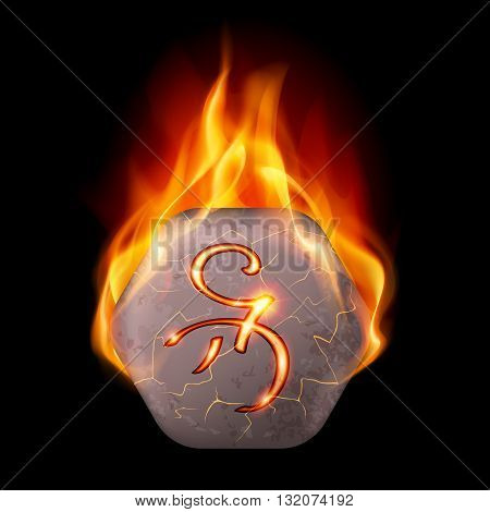 Hexagonal stone with magic rune in orange flame