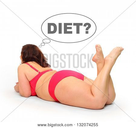 Overweight woman in bikini swimmsuit tanning on the beach. People isolated on white background. Healthy lifestyle, slimming and dieting theme. Weight loss idea. Picture with space for your text.
