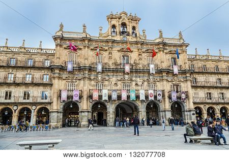 Salamanca Spain - March 21 2016: Town Hall of Salamanca a city in western Spain. It has a great historical and cultural past.