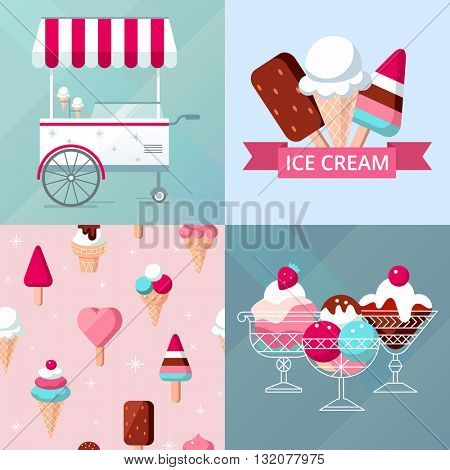Ice cream poster template set with street cart, seamless background and ice cream card design, flat style, colorful vector illustration