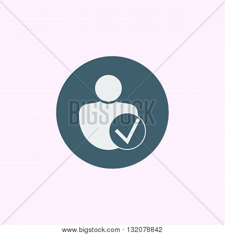 User Accept Icon In Vector Format. Premium Quality User Accept Symbol. Web Graphic User Accept Sign On Blue Circle Background. poster