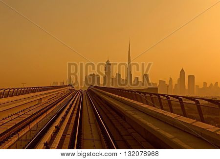 metro railway going to Downtown district in Dubai