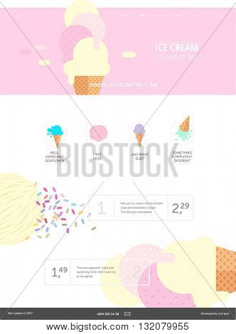 Ice cream website pink template - a web layout componed of web banner with ice cream flat cartoon illustration, header, menu, few icons, ice cream scoops on a background and template for product menu