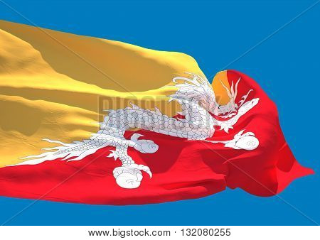 Bhutan wave flag HD Kingdom of Bhutan