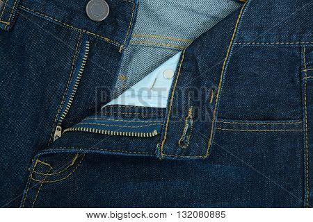 Close up Long trousers of jeans (Zipper opened)
