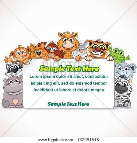 Cartoon Zoo Animal Sign. Cartoon Farm Animals. Ready for Your Text and Design.