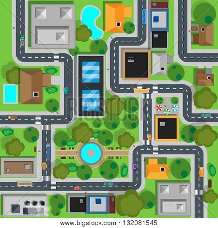 Map of city top view design flat. Map suburban settlement with private houses, narrow roads with cars and natural park design flat. Cars drive on sleeping residential district. Vector illustration