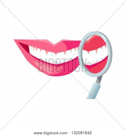 Smile with white tooth design flat. Dental and smile, teeth white, healthy dental, beauty and care smile, health and clean tooth, whitening human perfect toothy, smile white tooth illustration