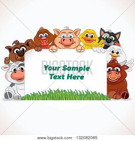 Cute Farm Animals with Blank Banner. Cartoon Farm Animals. Vector Illustration Ready for Your Text and Design.