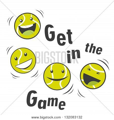 Bouncing Tennis Ball And Text Get In The Game. Cartoon Vector Character. Sports Tennis Theme. Tennis Mascot.