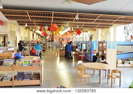 Les Mureaux France - april 2 2016 : the interior of the multi media library
