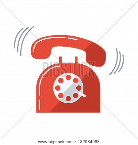 Red ringing telephone. Flat design vector illustration.