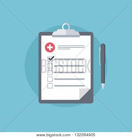 Medical report. Medical clipboard icon. First aid, diagnostic. Flat design vector illustration.
